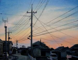 アクリル画 風景画 絵画 空の絵 夕焼け 美術 アート