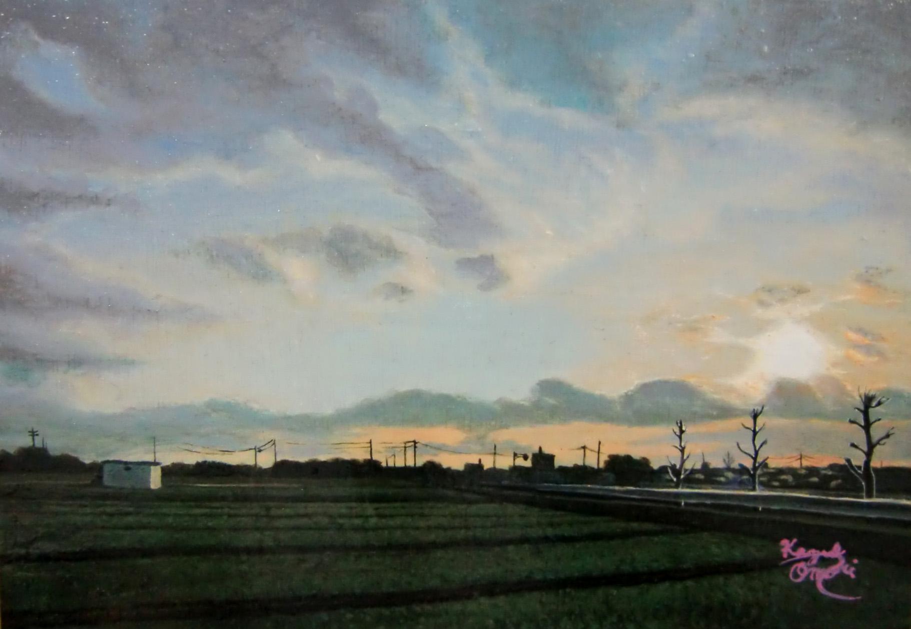アクリル画 風景画 空の絵 夕焼け 絵画 美術 アート