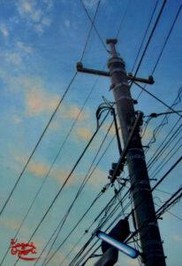 アクリル画 風景画 電柱 電線の絵 美術 絵画 アート