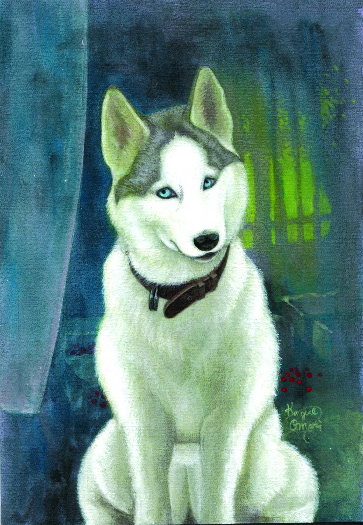 アクリル画 動物画 絵画 ペット画 ハスキー 美術 絵 アート