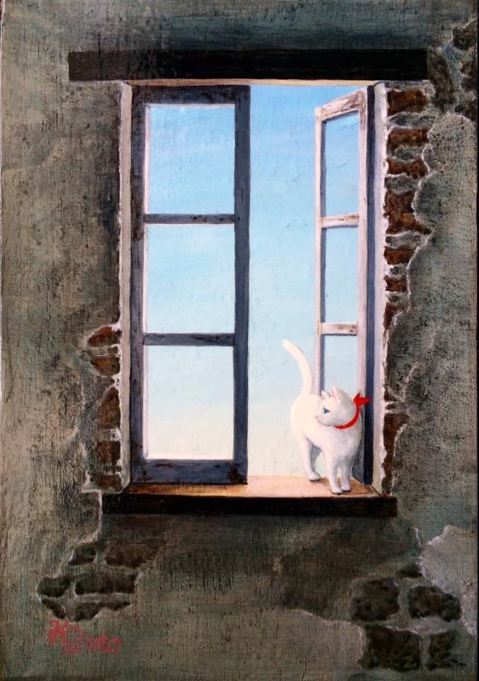 アクリル画 動物画 猫の絵 風景画 美術 絵画 アート
