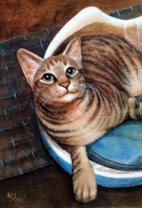 アクリル画 動物画 ペット画 猫 猫の絵 美術 絵画 絵 アート
