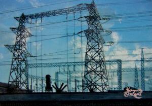 アクリル画 風景画 鉄塔 空の絵 絵画 美術 アート