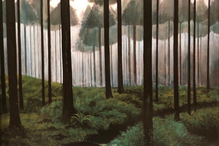 アクリル画 風景画 絵画 美術 アート 針葉樹林
