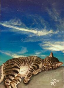 アクリル画 動物画 猫の絵 ネコ 絵画 美術 アート 空の絵