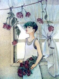 女の子イラスト イラスト 薔薇 絵 美術 アート 線画 点描画