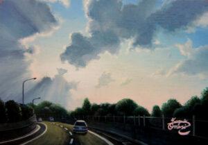 アクリル画 風景画 空の絵 絵画 美術 アート