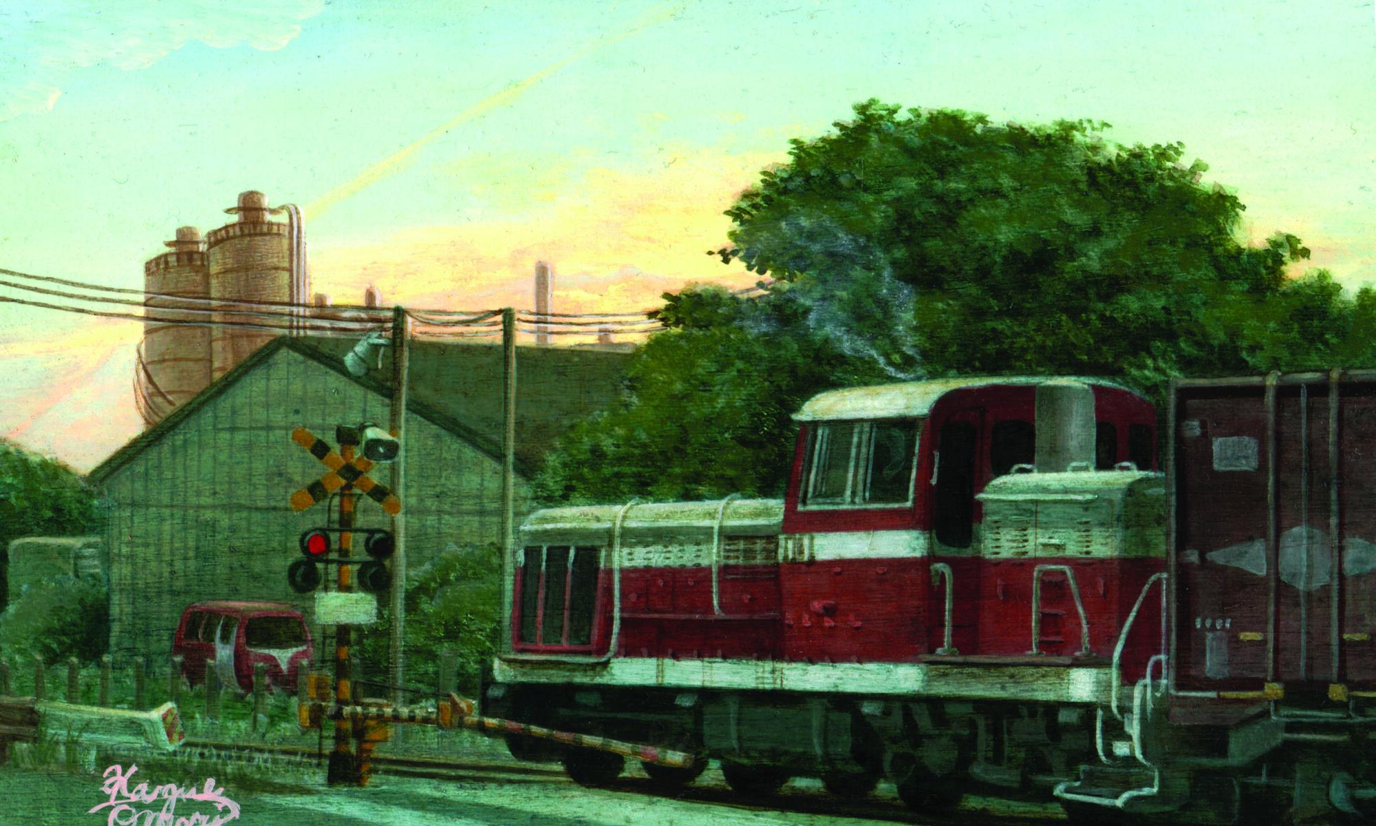 アクリル画 風景画 絵画 美術 アート 鉄道