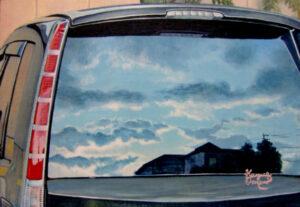 アクリル画 風景画 空の絵 車 絵画 美術 アート 虚像