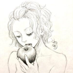 イラスト 下書き 女の子イラスト 食べる姿 リンゴ 美術 アート