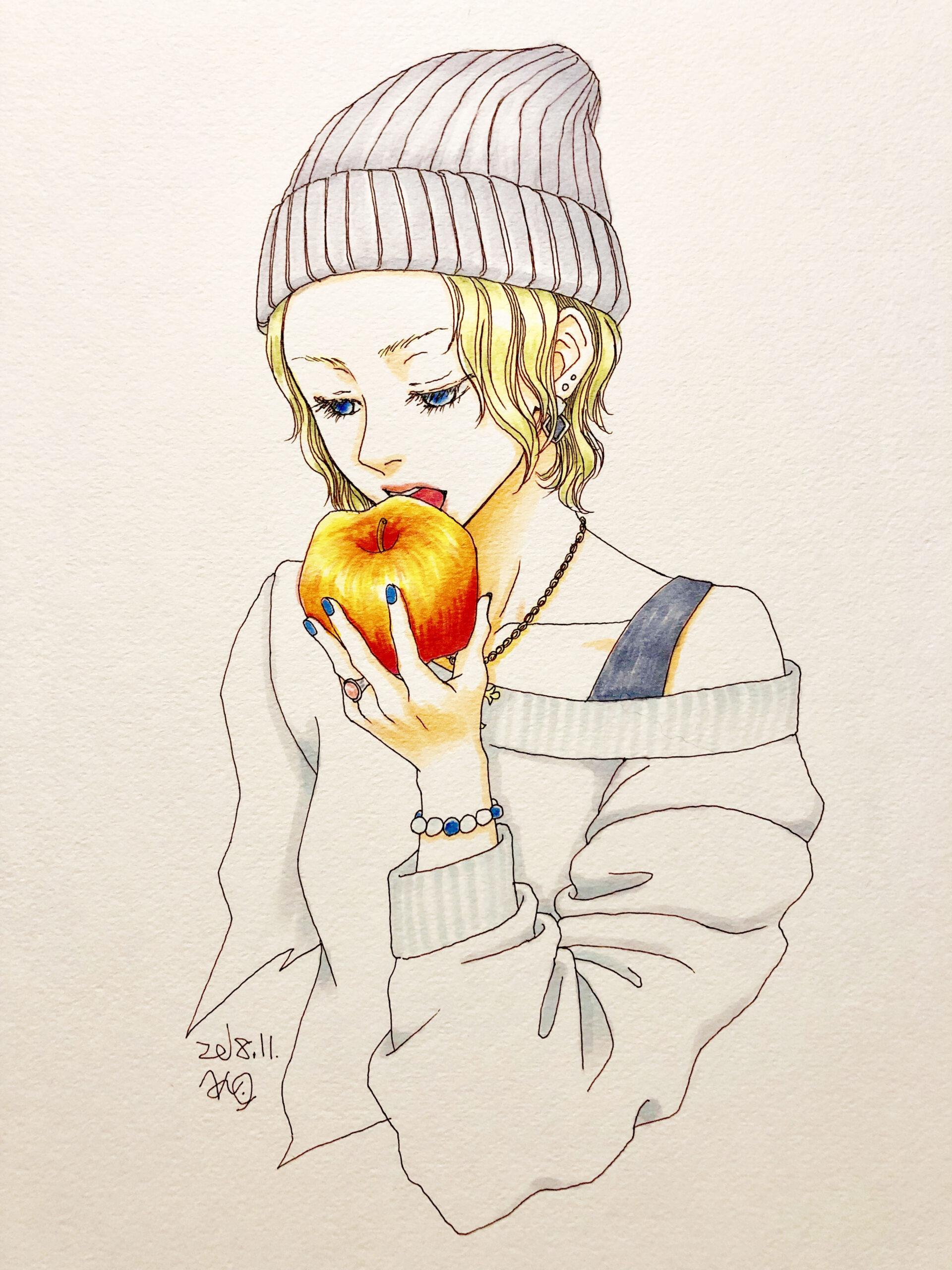 イラスト 女の子イラスト リンゴ 漫画 アート 美術