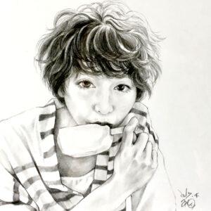 人物画 女の子イラスト 似顔絵 絵 美術 アート