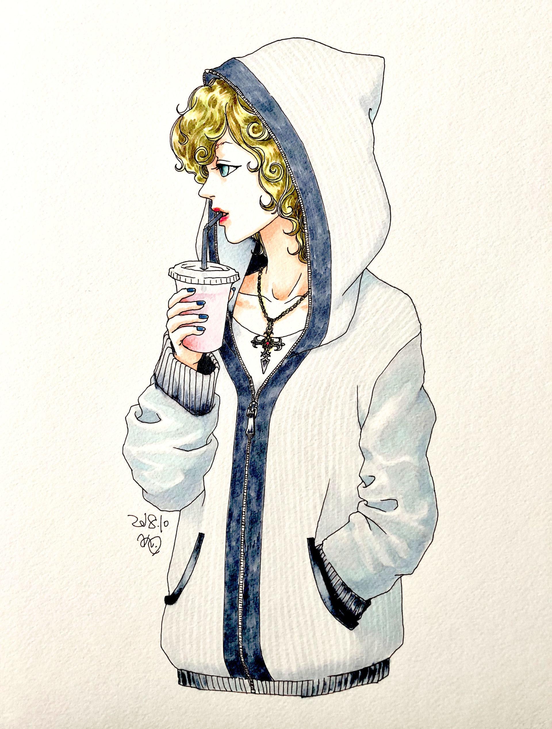 イラスト 女の子イラスト ジュースを飲む姿 絵 美術 アート