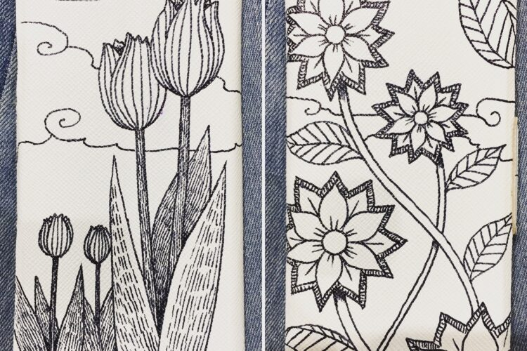 イラスト スマホケースに描く 植物画 美術 アート 一発書き