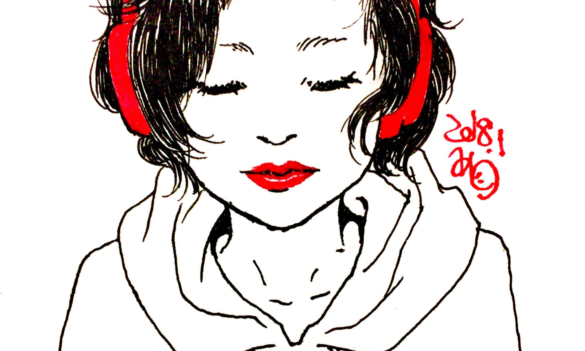 イラスト 女の子イラスト アート 絵 美術 ヘッドホン