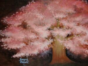 アクリル画 風景画 桜 ソメイヨシノ 絵画 美術 アート