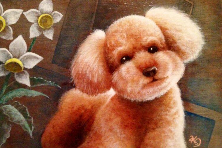 アクリル画 動物画 プードル 絵画 美術 アート