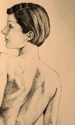 線画 女の子イラスト イラスト 絵画 横顔 点描 美術 アート