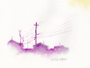 風景画 水彩画 街 アート デッサン 電柱 思い出