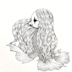 イラスト アマビエ アイナギ ainagi 線画 点描画 妖怪 美術 アート