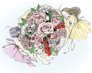点描画 女の子イラスト AINAGI 絵画 花束 母の日
