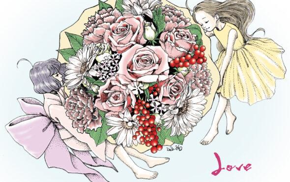 女の子イラスト ainagi 花の絵 flower 母の日 美術 線画 点描画 アート