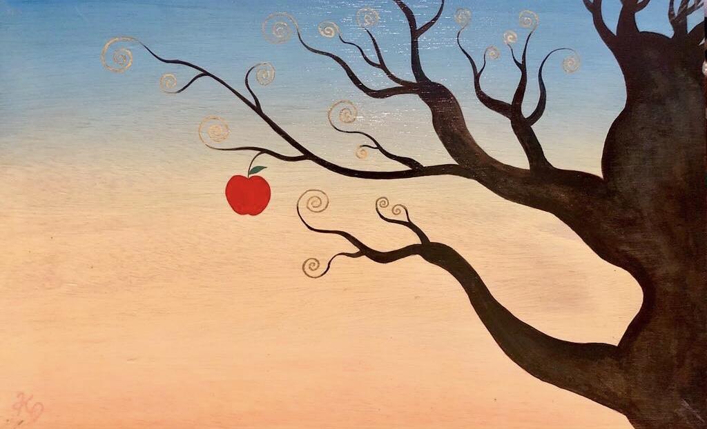 アクリル画 植物画 絵画 リンゴ 美術 アート