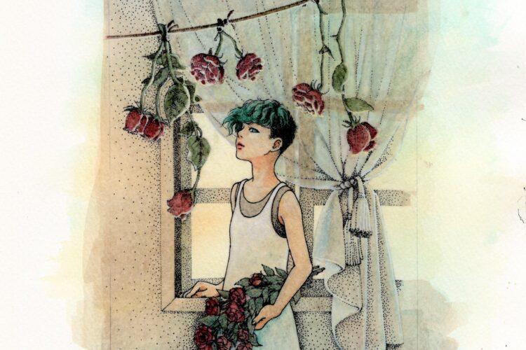 イラスト 女の子イラスト 人物画 点描 線画 漫画 アート アーティスト