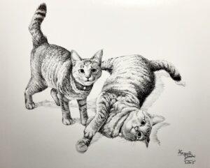 墨絵 筆ペン画 絵画 猫 猫の絵 動物画 キジトラ お絵かき