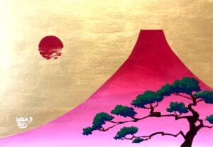 富士山 赤富士 縁起物 アクリル画 アート 絵画 風景画 大森和枝 画家