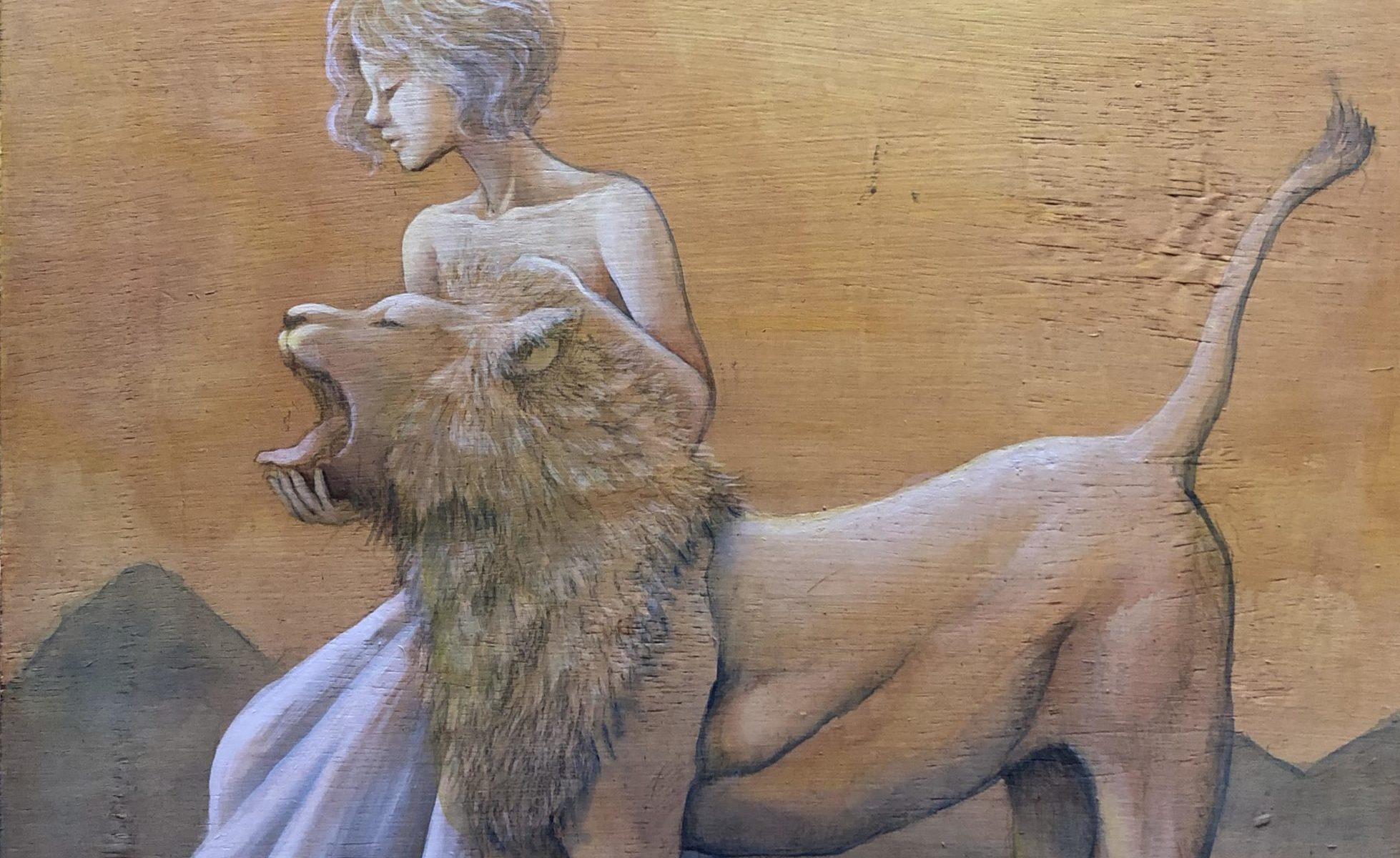 タロットシリーズ 絵画 アクリル画 ライオン 画家 大森和枝