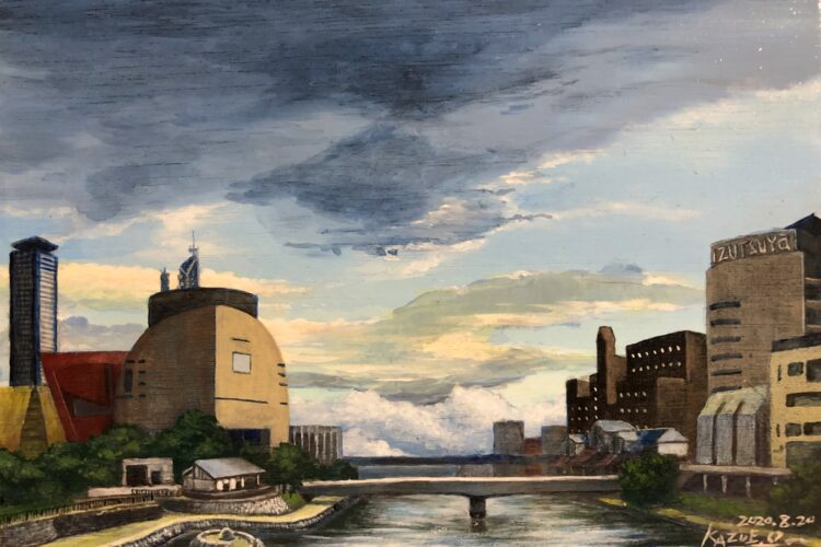 アクリル画 風景画 北九州 紫川 空の絵 オーダー 絵画 美術 画家 美術家