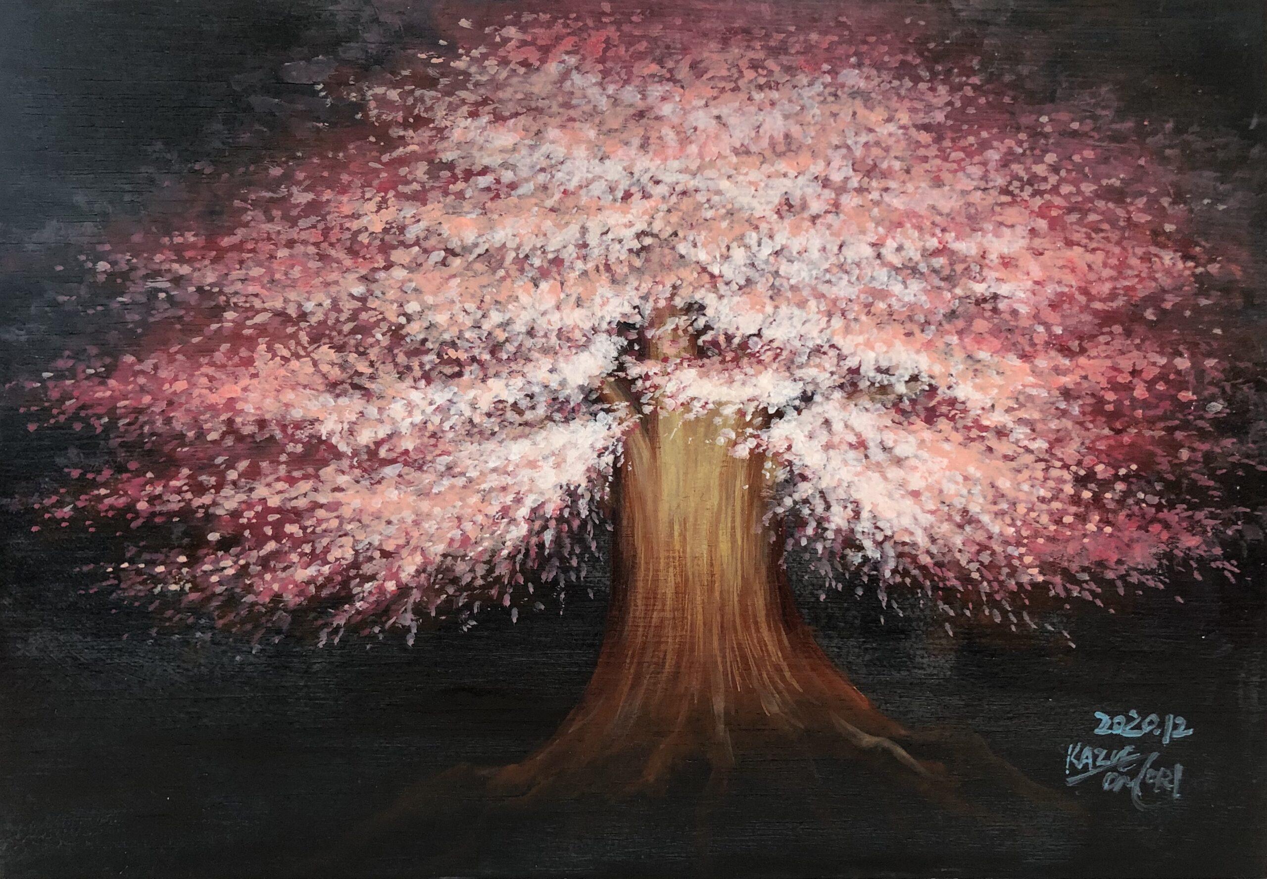 Sakura 桜 夜桜 植物画 アクリル画