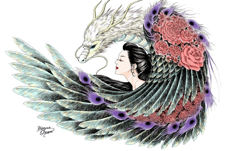 女の子イラスト イラスト 線画 龍 飛翔