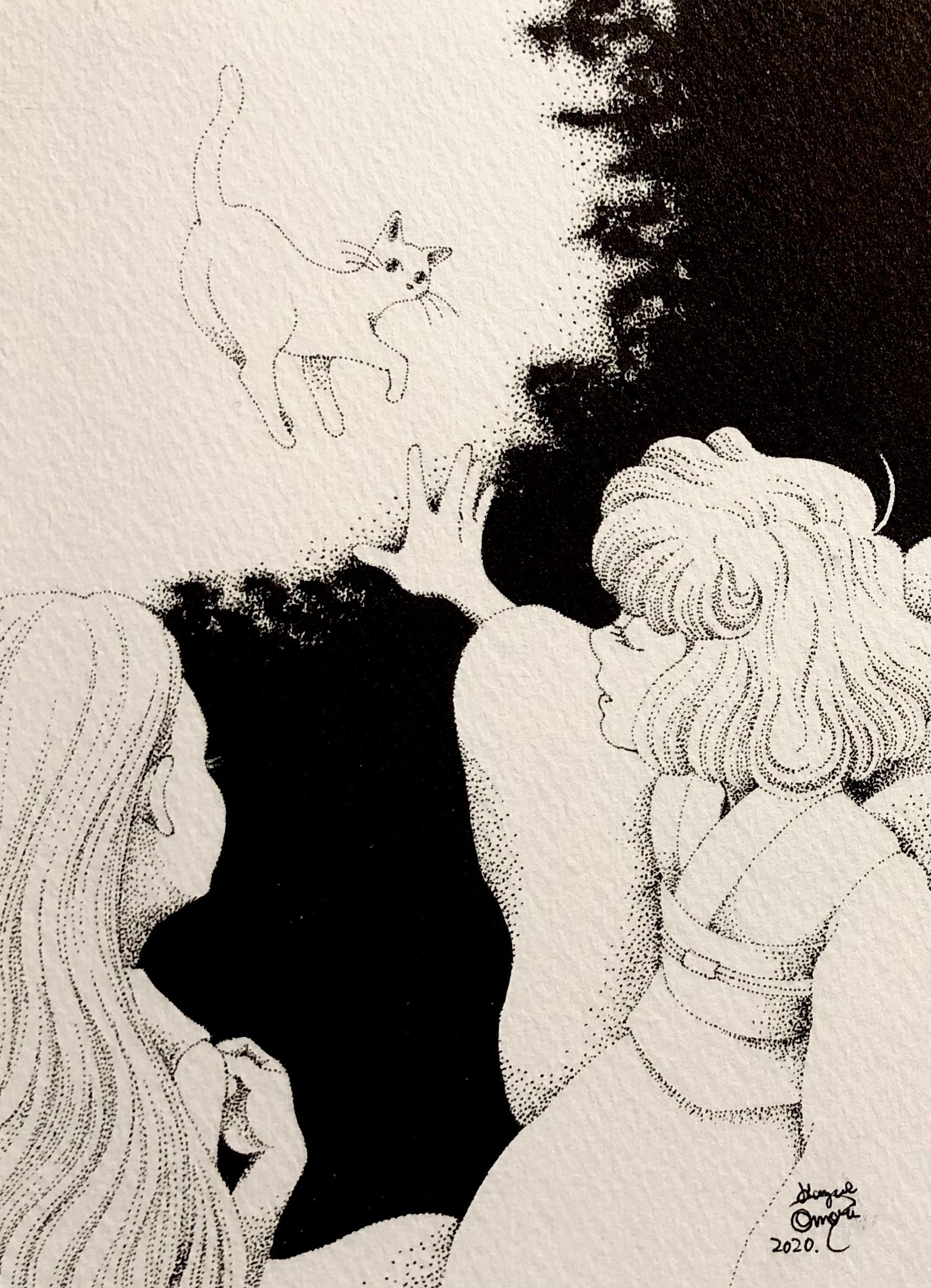 イラスト 女の子イラスト illust 点描画