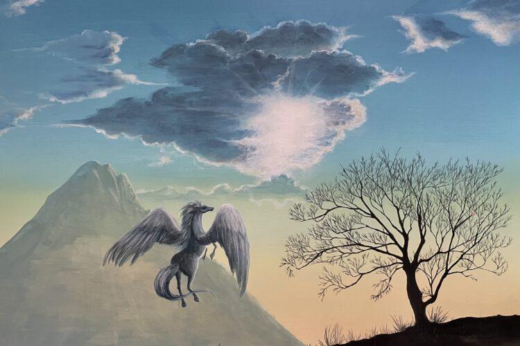 アクリル画 風景画 ペガサス 空の絵