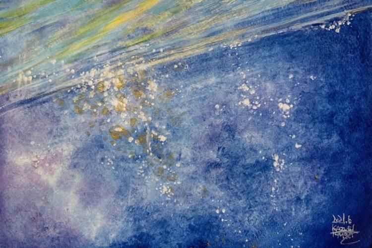 抽象画 波 絵画 アクリル画 水彩画