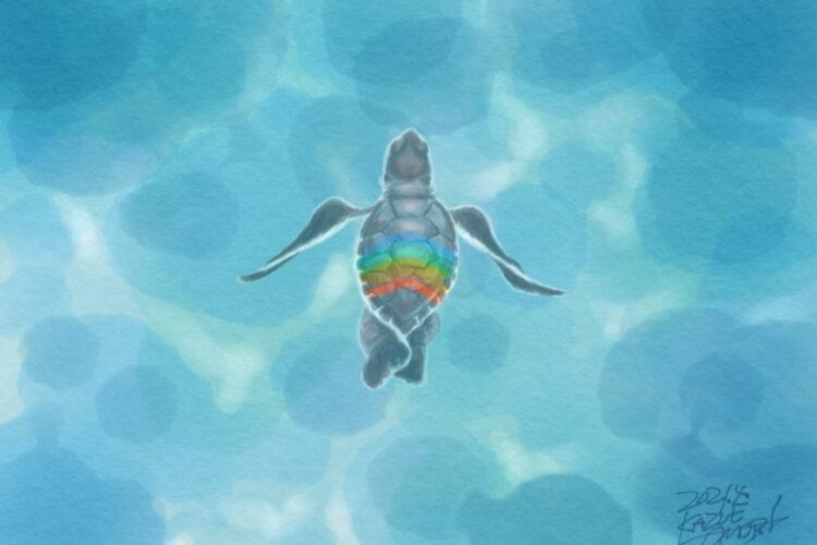 ウミガメ 絵画 デジタル絵画